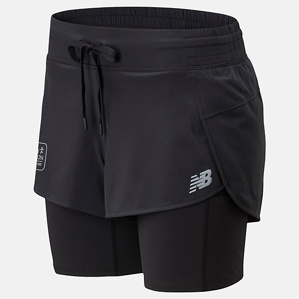 NB London Marathon Impact Run 2 In 1 Shorts, WS01241DBK