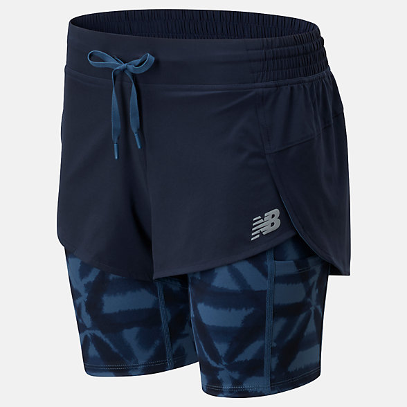 NB Printed Impact Run 2 In 1 Short, WS01242ECL