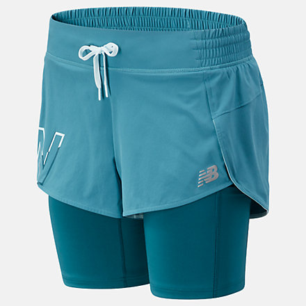 New Balance Printed Impact Run 2 In 1 Short, WS01242SEA image number null