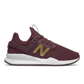New Balance 247, NB Burgundy with Gold Metallic