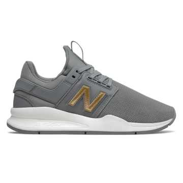 New Balance 247, Gunmetal with Gold Metallic