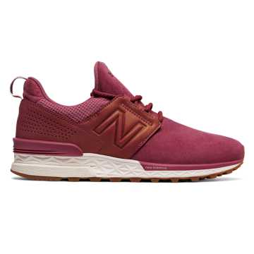 New Balance Nubuck 574 Sport, Dragon Fruit with Champagne Metallic
