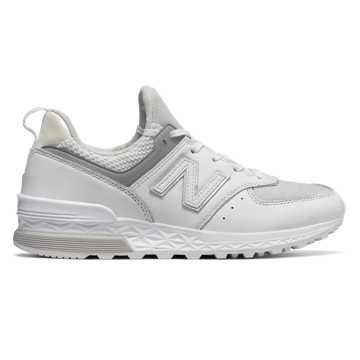 New Balance 574 Sport, White with Metallic Silver