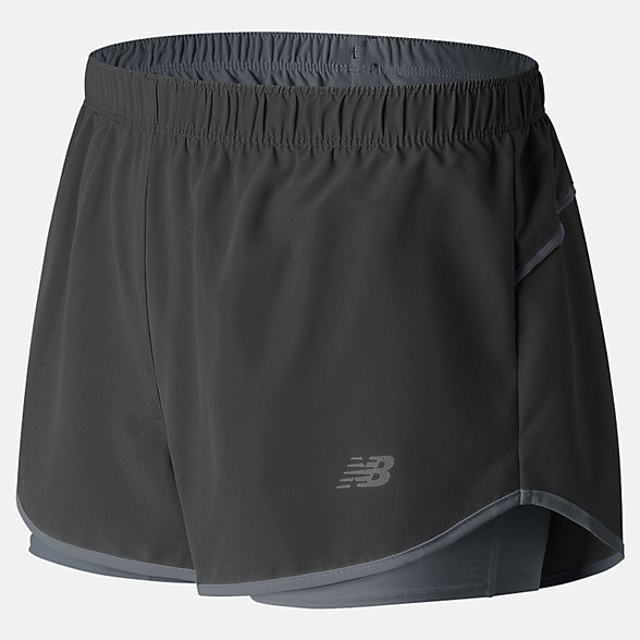 New Balance 3 In 2 In 1 Woven Short, WS71852BK