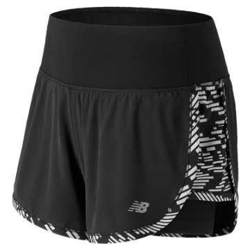 New Balance Impact 4 Inch 2 in 1 Short, Speed Glitch with Black