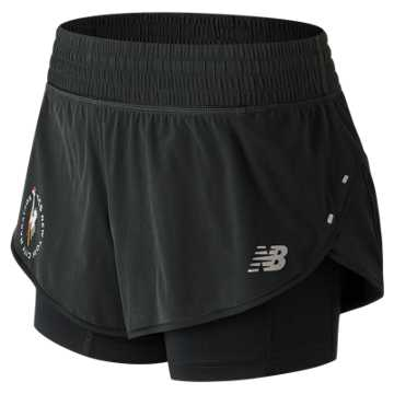New Balance NYC Marathon Impact 4 In 2 In 1 Short, Black
