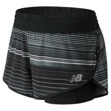 New Balance 4 Inch Printed Impact Short, Black with Grey