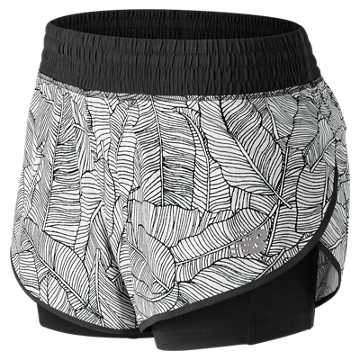 New Balance 4 Inch Printed Impact Short, Black with White