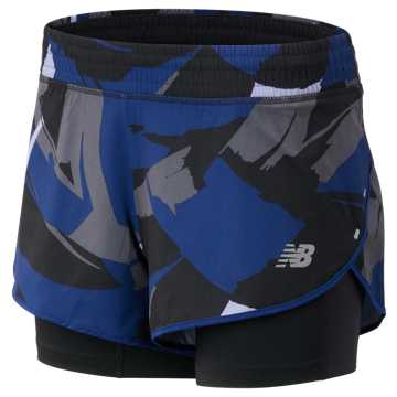 New Balance 4 Inch Printed Impact Short, Techtonic Blue with Black & Outerspace