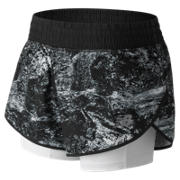 New Balance 4 Inch Printed Impact Short, Black Multi