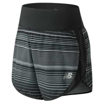 New Balance 5 Inch Printed Impact Short, Black with Grey