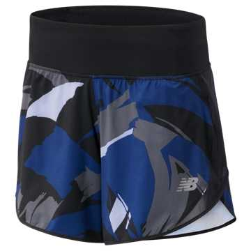 New Balance 5 Inch Printed Impact Short, Techtonic Blue with Black & Outerspace