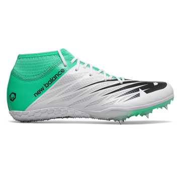 New Balance SD100 Spike, White with Neon Emerald