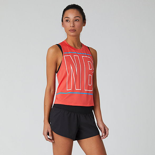 New Balance Printed Fast Flight Crop Tank, WT01223TOR