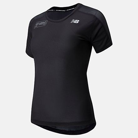 NB London Marathon Impact Run Short Sleeve, WT01234DBK image number null