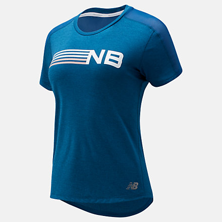 New Balance Printed Impact Run Short Sleeve, WT01235RWH image number null