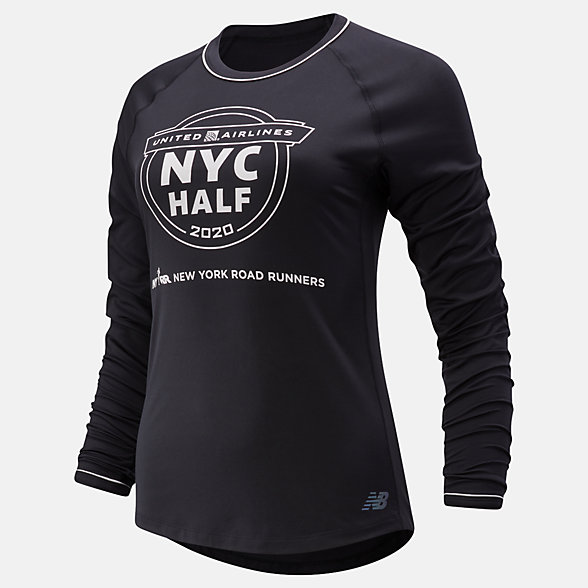 New Balance 2020 United Airlines Half Q Speed Seasonless Long Sleeve, WT01252CBK