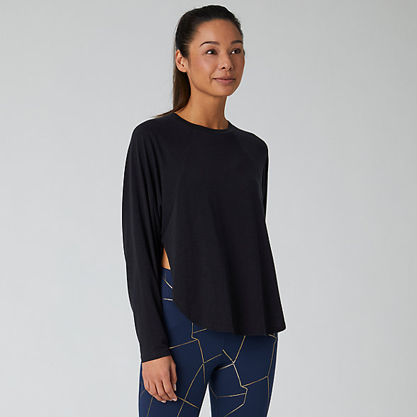 New Balance Evolve Side Slit Long Sleeve, WT01452BK