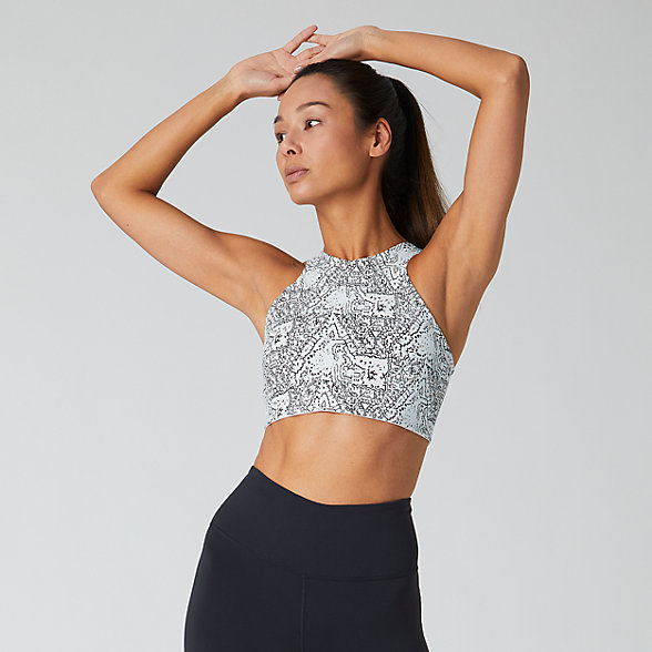 New Balance Evolve Printed Halter Crop 2.0, WT01455MND