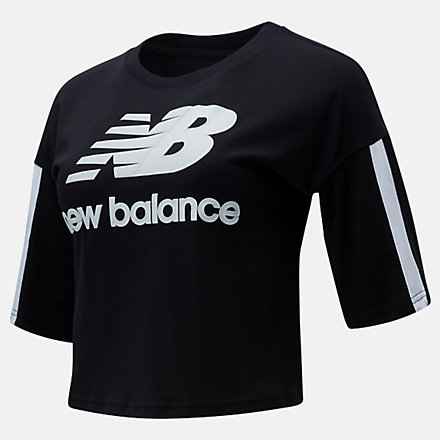 New Balance NB Athletics Short Sleeve Stacked Tee, WT01505BK image number null