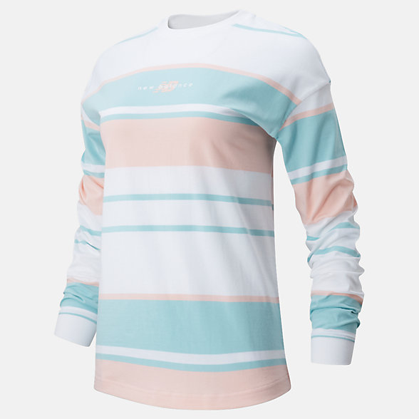 New Balance NB Athletics Prep Long Sleeve Stripe Tee, WT01509PSA