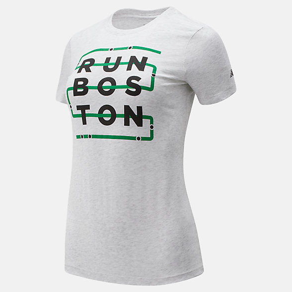 New Balance Run Boston Green Line Graphic Tee, WT01607ZWT