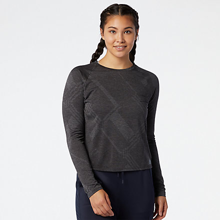 New Balance Q Speed Fuel Jacquard Long Sleeve, WT03259BKH image number null
