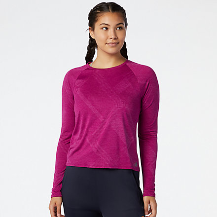 New Balance Q Speed Fuel Jacquard Long Sleeve, WT03259MLH image number null