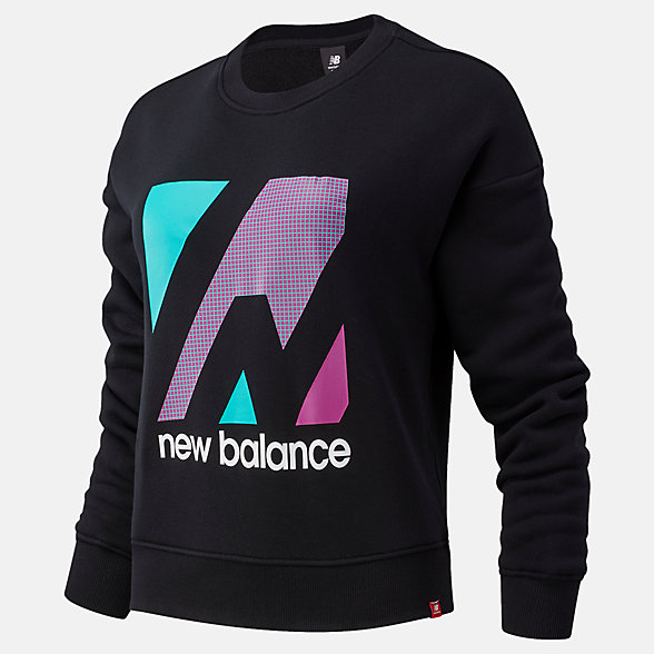 NB Essentials Terrain Graphic Crew Fleece Top, WT03533BK