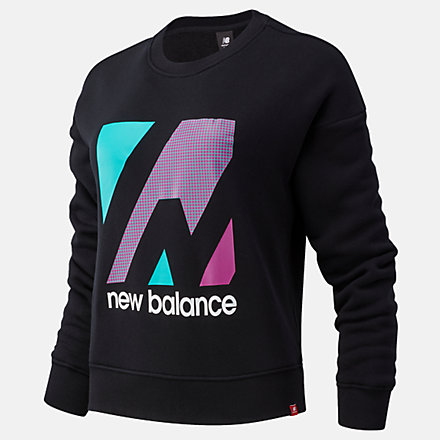 NB Essentials Terrain Graphic Crew Fleece, WT03533BK image number null