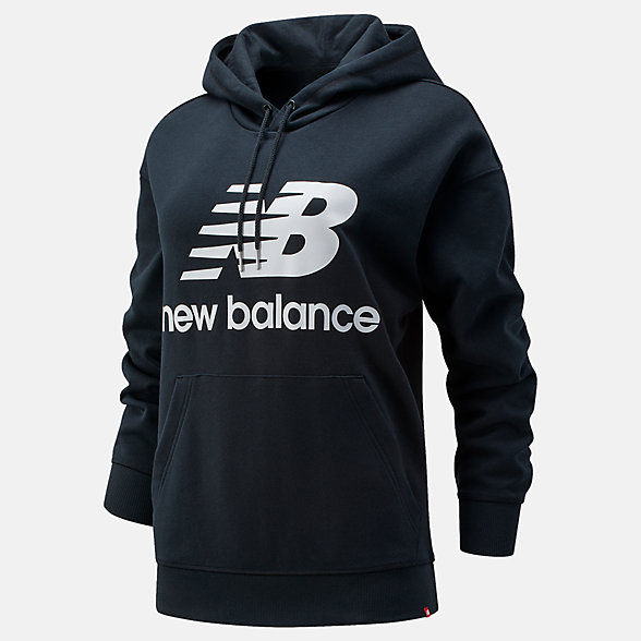 New Balance NB Essentials Stacked Logo Oversized Hoodie, WT03547BK