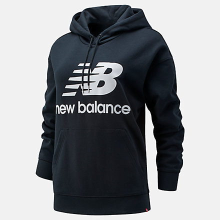 New Balance NB Essentials Stacked Logo Oversized Hoodie, WT03547BK image number null