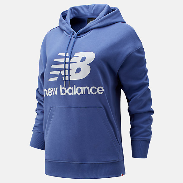 New Balance NB Essentials Stacked Logo Oversized Hoodie, WT03547MBL