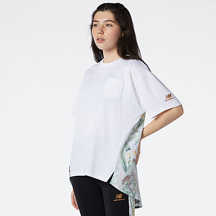 New Balance NB Essentials Botanical Knit Woven Mix Tee, WT11538WT image number null