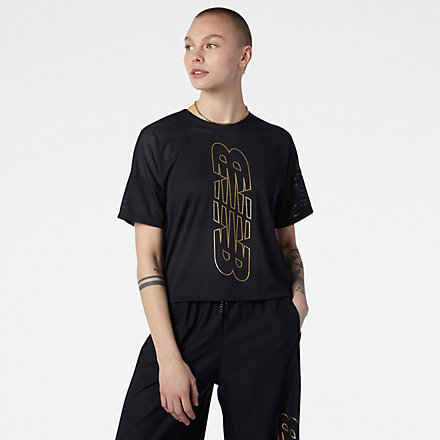 NB Achiever Keyhole Back Graphic Tee, WT13153BK image number null