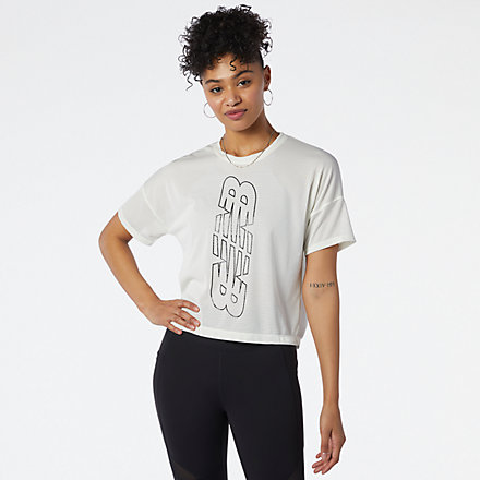 New Balance Achiever Keyhole Back Graphic Tee, WT13153SST image number null