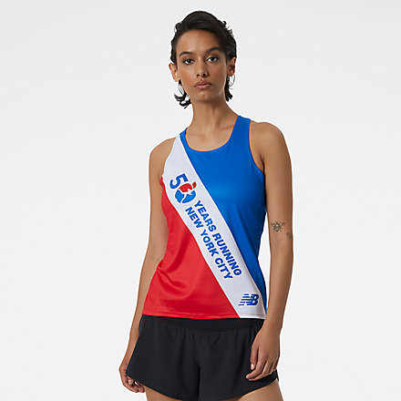 New Balance NYC Marathon Printed Singlet, WT13298MREP image number null