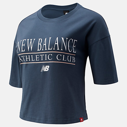 New Balance NB Essentials Athletic Club Boxy Tee, WT13509DOG image number null