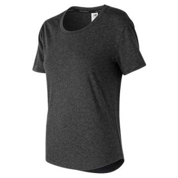 New Balance Graphic Heather Tech Tee, Black with White