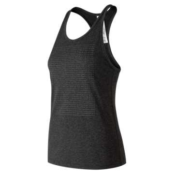 New Balance Graphic Heather Tech Racerback, Black Heather with Black Charcoal Heather