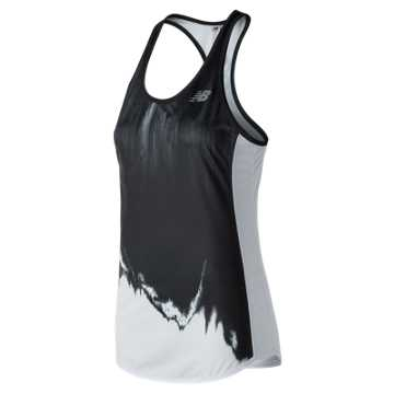 New Balance Accelerate Printed Tank, Black with White