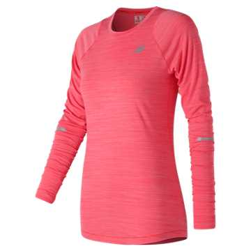 New Balance Seasonless Long Sleeve, Energy Red Heather