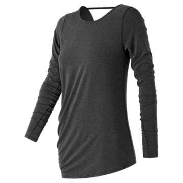 New Balance Long Sleeve Layering Tee, Black Heather