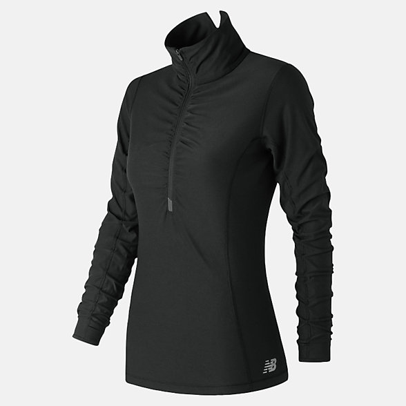 New Balance Space Dye Quarter Zip With Ruching, WT73891BK