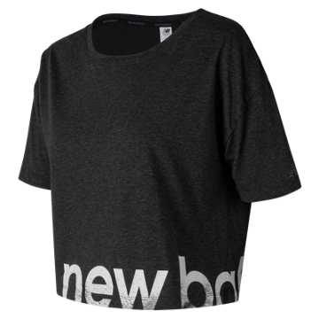 New Balance Graphic Heather Tech Crop, Black Heather
