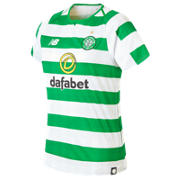 NB Celtic FC Home Womens Short Sleeve Jersey, White with Celtic Green