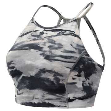 New Balance Printed Evolve Halter Crop, Black with Grey & White Oak