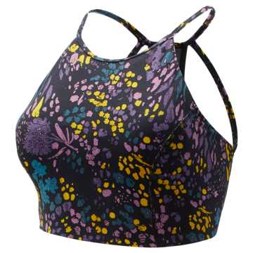 New Balance Printed Evolve Halter Crop, Black with Supercell & Kite Purple