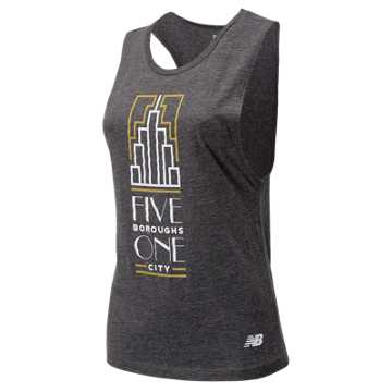 New Balance NYC Marathon 5 Boroughs Tank, Heather Charcoal