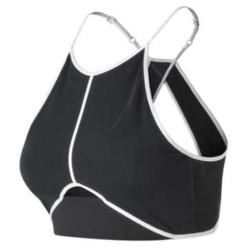 New Balance Energize Crop Bra, Black with White